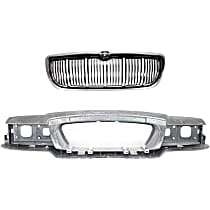 Grille Assembly - Chrome Shell with Painted Black Insert, with Header Panel