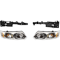 Replacement Headlight and Headlight Bracket Kit - Driver and Passenger Side, Primed, Direct Fit