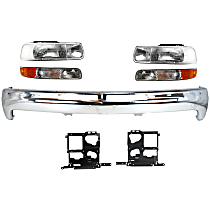 Bumper - Front, Chrome, with Headlights, Parking Lights and Headlight Brackets, without Bumper Brackets