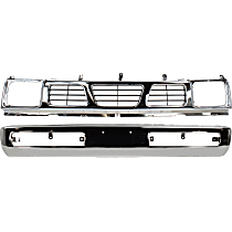Bumper - Front, Chrome, with Grille Assembly