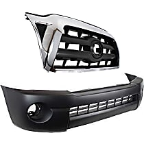 Grille Assembly - Chrome Shell with Black Insert, with Front Bumper Cover (without Spoiler, without Fender Flare Extension Holes)