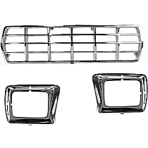 Grille Assembly - Chrome Shell and Insert, with Chrome Right and Left Headlight Doors, with Rectangular Headlights