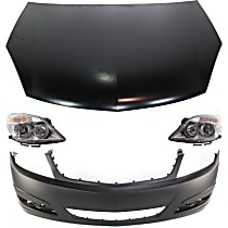 Replacement Headlight, Bumper Cover and Hood Kit - Front, DOT/SAE Compliant