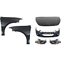Hood - Steel, Primed, with Front Bumper Cover, Right and Left Fenders and , Right and Left Headlights