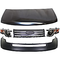 Hood - Primed, with Front Upper Bumper Cover, Grille Assembly and Right and Left Headlights