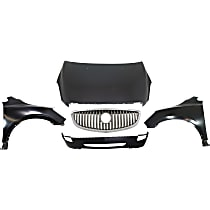 Replacement Grille Assembly, Fender, Bumper Cover and Hood Kit - Front