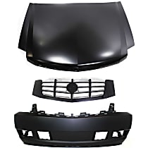Bumper Cover - Front, Kit, Primed, With Tow Hook Hole, Includes Hood and Grille