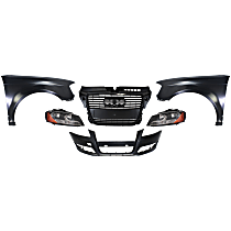 Bumper Cover, Grille Assembly, Headlight and Fender Kit - With fog light holes