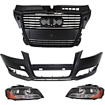 Bumper Cover, Grille Assembly and Headlight Kit - With fog light holes