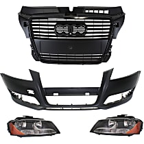 Headlight, Bumper Cover and Grille Assembly Kit - Front, DOT/SAE Compliant