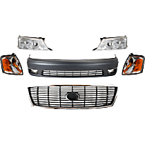Replacement Headlight, Corner Light, Bumper Cover and Grille Assembly Kit - Front, DOT/SAE Compliant