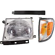 Replacement Bumper Filler, Corner Light and Headlight Kit - Driver Side