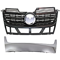Grille Assembly - Matte Black Shell and Insert, with Lower Chrome Grille Trim