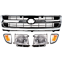 Grille Assembly - Chrome Shell with Painted Black Insert, RWD, with Right and Left Corner Lights and Right and Left Headlights