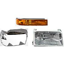 Replacement Headlight, Turn Signal Light and Headlight Door Kit - Passenger Side, DOT/SAE Compliant