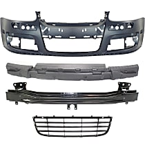 Replacement Bumper Cover, Bumper Absorber, Bumper Reinforcement and Grille Assembly Kit - With fog light holes