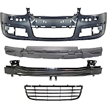 Grille Assembly, Bumper Cover, Bumper Absorber and Bumper Reinforcement Kit - Textured Black, Front