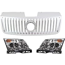 Replacement Grille Assembly and Headlight Kit - Silver