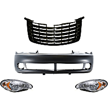 Grille Assembly - Primed Shell and Insert, with Front Bumper Cover and Right and Left Headlights