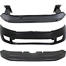Replacement Bumper Absorber, Bumper Cover and Bumper Reinforcement Kit - Front, OE Replacement, Sedan