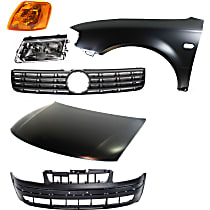 Headlight - Driver Side, Kit, For Models With Valance, With Bulb(s), With Bumper Cover, Hood, Grille, Left Fender and Corner Light