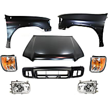 Hood - Primed, Production Date: From December 1998, with Front Bumper Cover, Right and Left Corner Lights, Right and Left Fenders and Right and Left Headlights