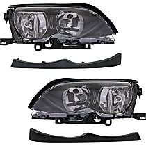 Headlights - Driver and Passenger Side, Kit, For Sedan or Wagon, Black Trim, With Bulb(s), With Headlight Fillers