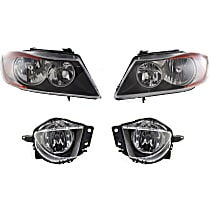 Replacement Headlight and Fog Light Kit - Driver and Passenger Side, DOT/SAE Compliant