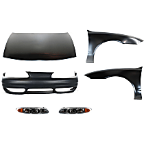 Replacement Bumper Cover, Headlight, Fender and Hood Kit - With fog light holes