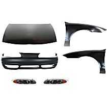 Hood - Primed, with Front Bumper Cover and Right and Left Fenders and Right and Left Headlights