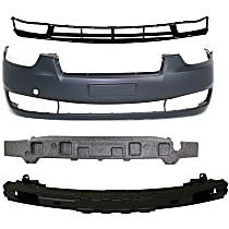 Replacement Bumper Reinforcement, Bumper Cover, Bumper Absorber and Grille Assembly Kit - Front, OE Replacement