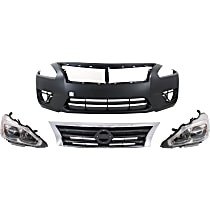 Replacement Bumper Cover, Grille Assembly and Headlight Kit - With fog light holes, Sedan