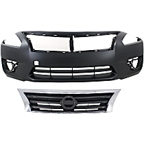 Grille Assembly - Chrome Shell with Black Insert, Sedan, with Front Bumper Cover