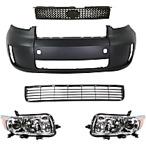Replacement Grille Assembly, Bumper Cover and Headlight Kit - Textured Black, Front