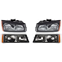 Headlights - Driver and Passenger Side, Kit, Fluted Reflector, With Bulb(s), With Turn Signals