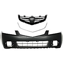 Grille Assembly - Painted Black Shell and Insert, with Front Bumper Cover and Lower Grille Trim