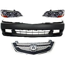 Grille Assembly - Chrome Shell with Painted Black Insert, with Front Bumper Cover and Right and Left Headlights