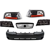 Replacement Bumper Cover, Corner Light, Grille Assembly and Headlight Kit - With fog light holes, Sedan