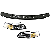 Replacement Wiper Cowl Grille and Headlight Kit - Black, Direct Fit