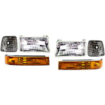 Replacement Turn Signal Light, Corner Light and Headlight Kit - Driver and Passenger Side, DOT/SAE Compliant, Direct Fit
