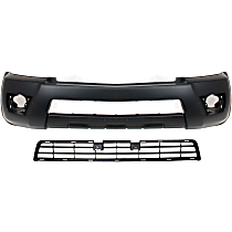 Replacement Grille Assembly and Bumper Cover Kit - Textured Black, Front