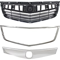 Grille Assembly - Textured Black Shell and Insert, with Upper Grille Trim and Grille Trim (Surround)