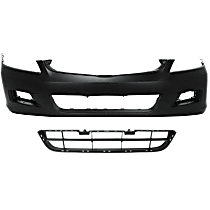 Grille Assembly and Bumper Cover Kit - Textured Black, Front, Sedan