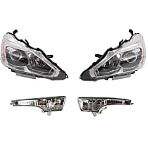 Replacement Headlight and Turn Signal Light Kit - Sedan, Driver and Passenger Side, DOT/SAE Compliant