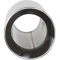 Polished Stainless Steel, Angled Cut, Single Exhaust Tip, Round Shape, 2.25 in. Inlet