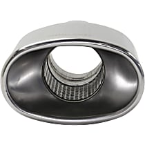 Polished Stainless Steel, Straight Cut, Single Exhaust Tip, Oval Shape, 2.5 in. inlet, With Resonator
