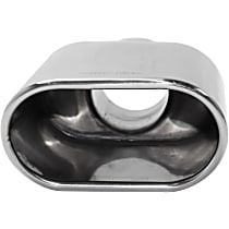 Polished Stainless Steel, Angled Cut, Single Exhaust Tip, Oval Shape, 2.25 in. Inlet