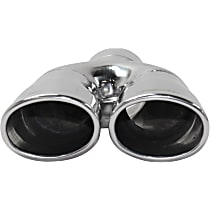 Polished Stainless Steel, Angled Cut, Dual Exhaust Tip, Oval Shape, 2.5 in. inlet