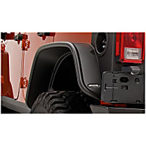 10050-07 Rear, Driver and Passenger Side Flat Style for Jeep Series Fender Flares, Black