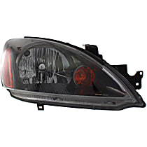 Passenger Side Headlight, With bulb(s) - Except Evolution Model, Clear Lens, Black Interior